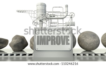 Improve concept with imperfection and perfection in machine - stock photo