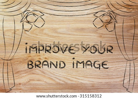 improve your brand image: theatre stage and spotlight as metaphor of marketing concepts - stock photo