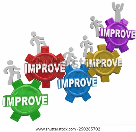 Improved word on gears with people, customers, workers or men walking up to illustrate improvement, better results and increased performance outcome - stock photo