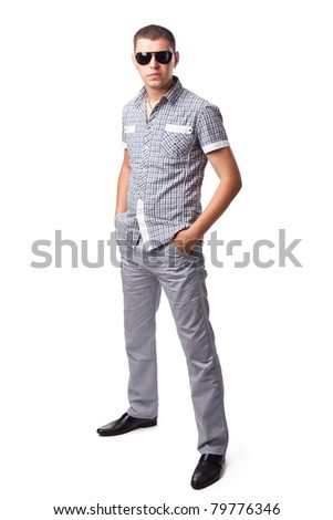 impudent young man in sunglasses isolated on white background. Full length portrait - stock photo