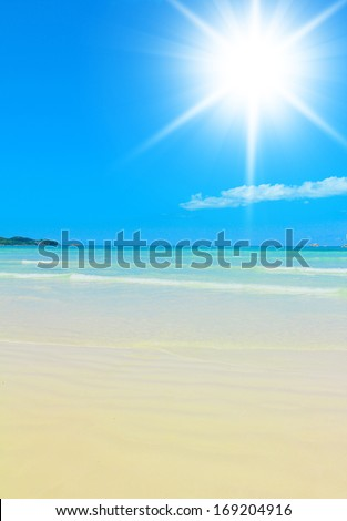 In a Blue Heaven On a Sunny Beach  - stock photo