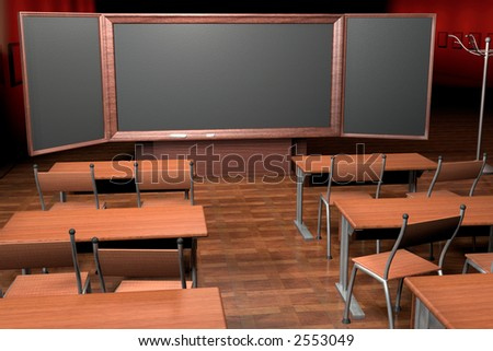 In a classroom. 3d computer image. - stock photo
