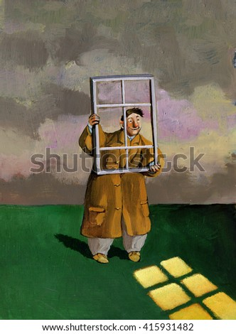 in a dark day the optimist projecting from their mental window a sunlight short version - stock photo