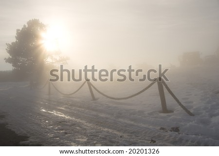 in a fog - stock photo