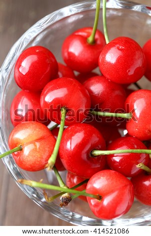 In a glass dish of red cherry