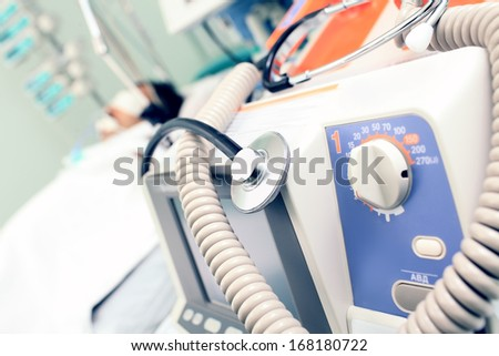 In a hospital. medical equipment for background sick bed. - stock photo