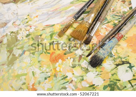 In a picture the brush of the artist lays. - stock photo