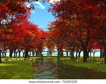 in an autumn forest - stock photo