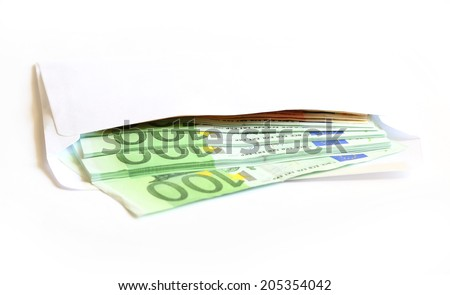 in an envelope packet euro money - stock photo
