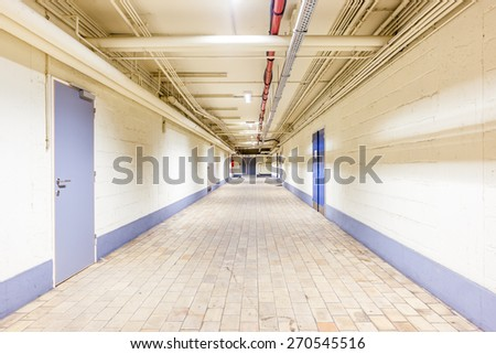 in an old biulding there is an beautiful corridor - stock photo