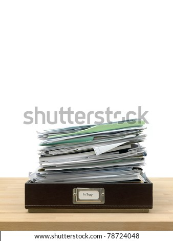 In and out office trays in an office situation - stock photo