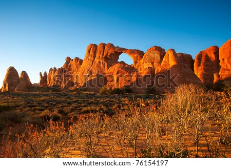 In Arches National Park, Utah, the Skyline Arch moments before sunset.