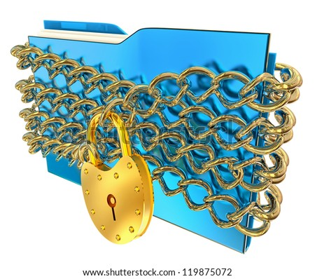 in blue folder with golden hinged lock and chains, stores important information - stock photo