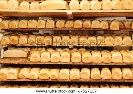 In bread bakery, food factory - stock photo