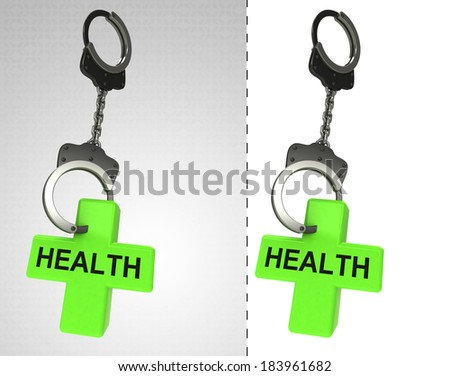in chain as criminality concept double illustration - stock photo