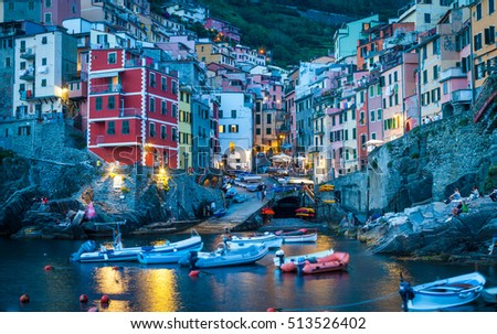 In Cinque Terre area, Rio Maggiore is one of the most beautiful town - Blue hour