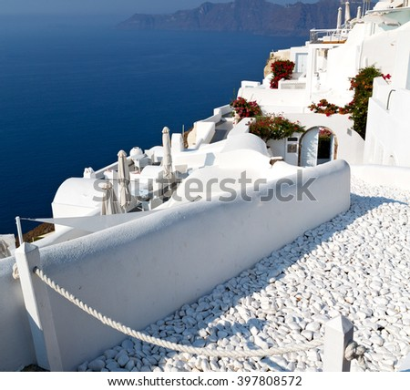 in    europe    vacation  cyclades santorini old town white and the sky - stock photo