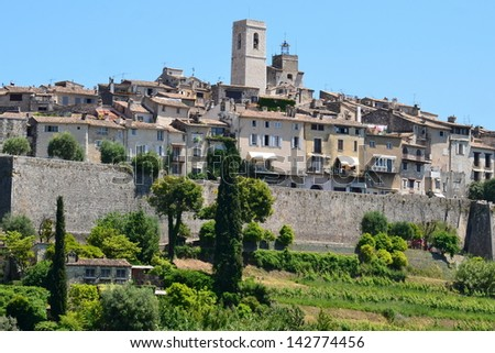 In France, on the french riviera, Saint Paul de Vence is a charming feudal village very appreciated by the artists, and where is the famous Maeght foundation. - stock photo