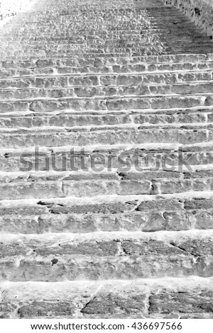 in greece  monument  old steps and marble ancien line  - stock photo