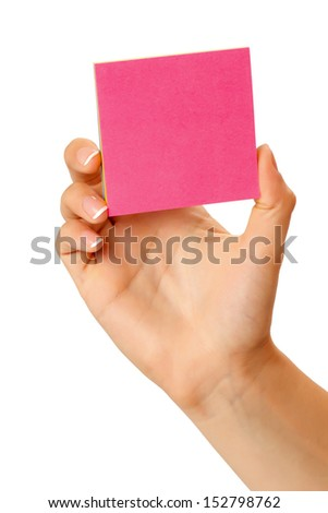 in hand a blank sheet of red paper