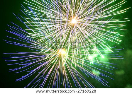 In holiday beautiful fireworks - stock photo
