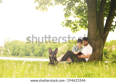 in love couple in nature - stock photo