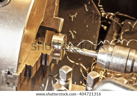 in metal workshop - milling machine - stock photo