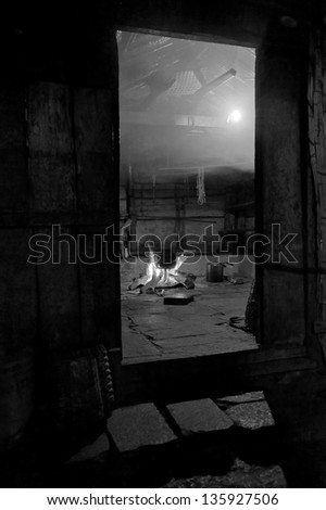 In nepal the kitchen cooked dinner - Himalayas (black and white) - stock photo