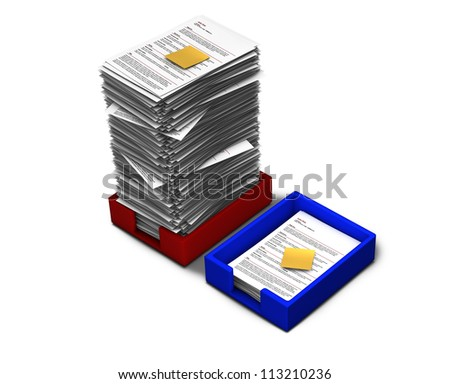 In-out tray with papers and sticky notes - stock photo