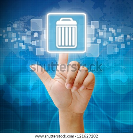 In press delete icon on business background blue color - stock photo