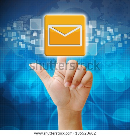 In press email icon on touch screen interface - stock photo
