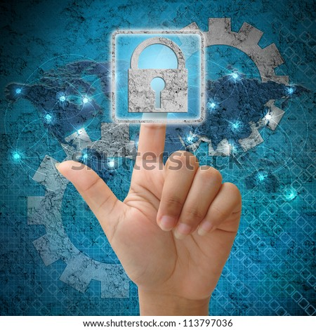 In press security icon on network background - stock photo