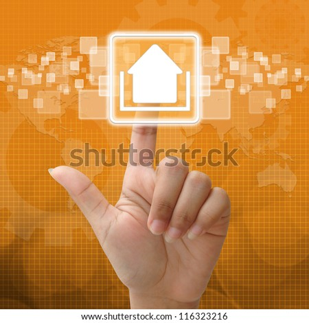 In press upload icon for business concept - stock photo