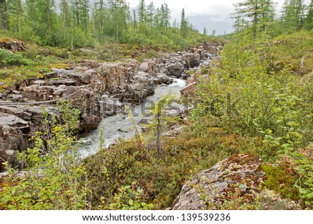 In Russia, in 100 km to the East of Norilsk, is a picturesque edge of the plateau Putorana plateau. There is all the rivers, lakes, waterfalls, canyons, deer and bears.