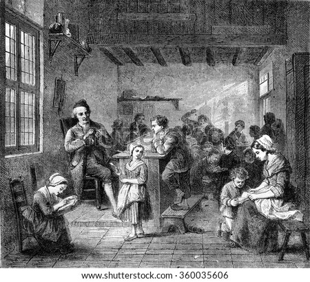 In school, by loose, vintage engraved illustration. Magasin Pittoresque 1870.