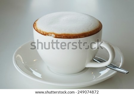 In the afternoon, cappuccino , hot milk soft relaxing. - stock photo