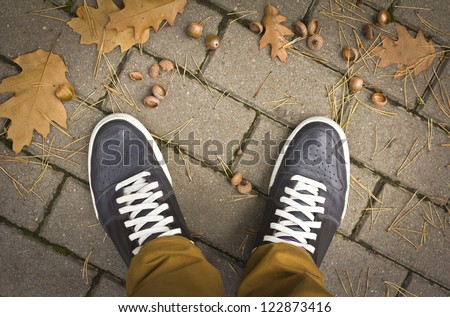 In the autumn park. Unusual view - from my eyes. - stock photo