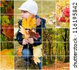 in the autumn park with yellow and red leaves - stock photo