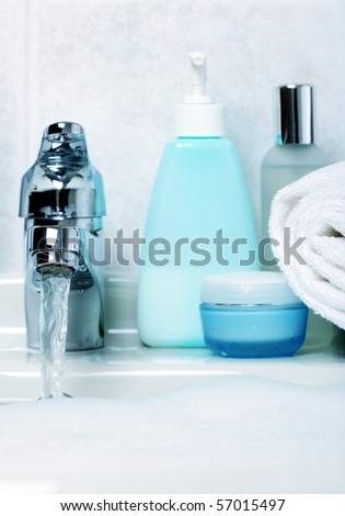in the bathroom - stock photo