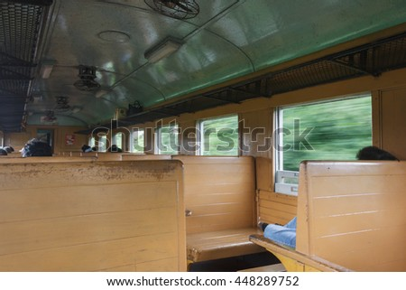 in the bogie of thai train,vintage train