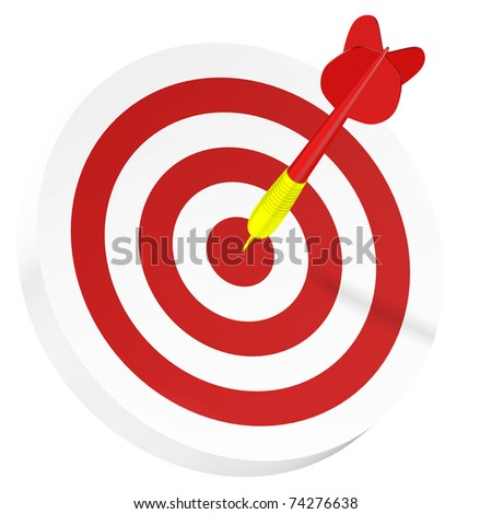 In the bull's eye. Darts concept of sucess