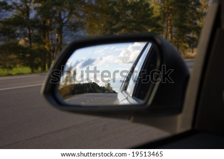 in the car mirror