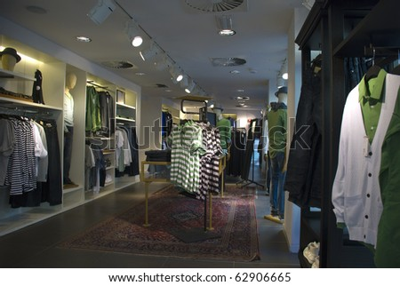 In the fashion department store - stock photo