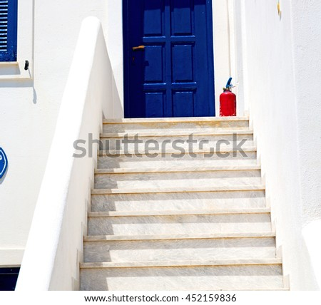 in the greece island window and door white  colors  old architecture