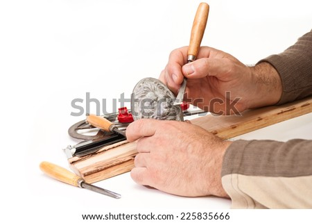 In the hands of the artist relief lion head and cutter - stock photo