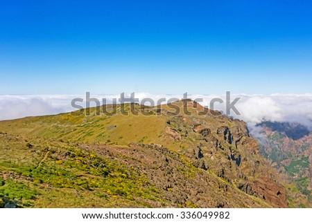 In the heart of Madeira near mountain Pico do Arieiro - mountainous landscape - stock photo