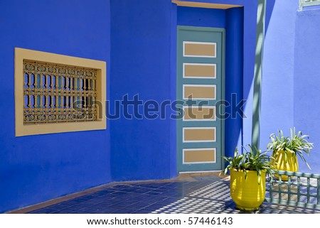 In the Majorelle gardens in Marrakesh, morocco, Yves st laurent, has built a second home which now serves as a small islamic museum - stock photo