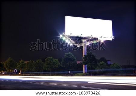 In the night highway billboards - stock photo