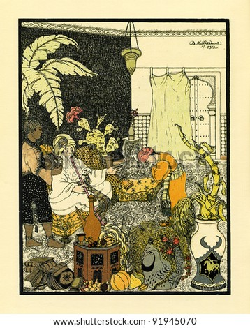 "in the palace of Sheikh, illustration by Dmitry Mitrokhin, a fairy tale by William Gauf  ""Life of Almansor"", publisher Joseph Knebel, Russia, 1912"