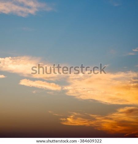 in the red blue sky cloud and sunrise       orange color